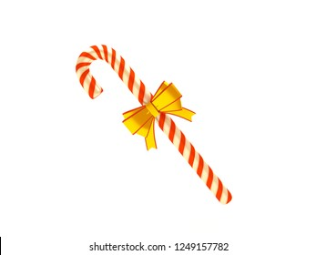Christmas candy cane with golden and yellow ribbon. Sweet treat. Merry Christmas and Happy New Year. 3D style illustration isolated on white background.