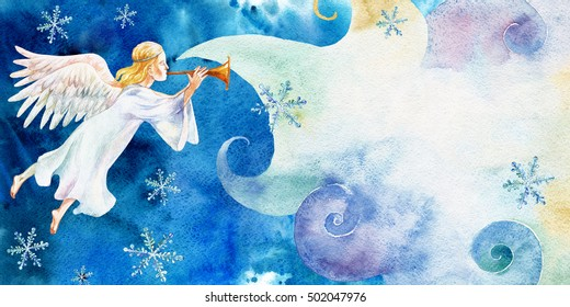Christmas card with angel and cloud watercolor