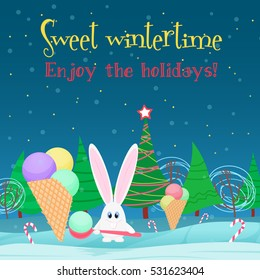 Christmas card background. Rabbit with ice cream candy in the  tree night forest. - Shutterstock ID 531623404