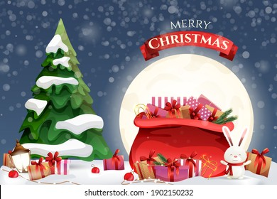 Christmas card with a big bag of gifts on the background of the moon and the Christmas tree. Merry Christmas and Happy New Year 2021