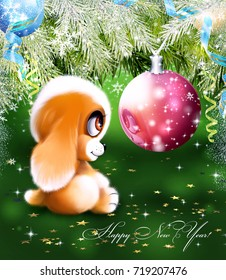 Christmas card with dog and Christmas decorations