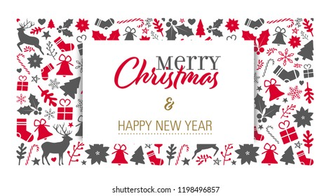 christmas card with greeting text and a christmas pattern background