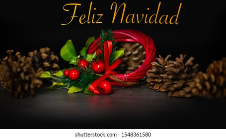 Christmas Card - Happy Christmas Black Background - Spanish language