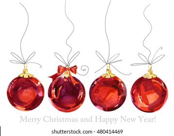 Christmas Card. Happy New Year. Watercolor winter holidays background.