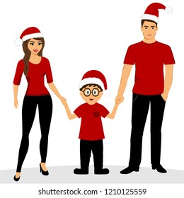 Christmas card. Christmas illustration with family. Isolated object. Illustration