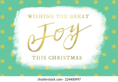 Christmas Card With Joy Calligraphy Text and Gold Foil Texture.