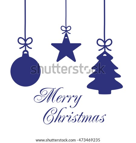 christmas card merry christmas word ornaments stock illustration
