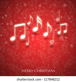 Christmas card with music notes