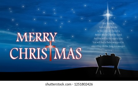 Christmas card, nativity scene of baby Jesus in the manger with scriptures in christmas tree shape