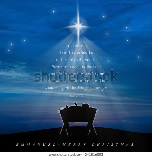 Christmas Scriptures.Christmas Card Nativity Scene Baby Jesus Stock Illustration