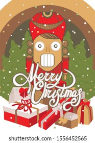Christmas card with Nutcracker puppet, forest, gift boxes flat illustration. Greetings card Merry christmas
