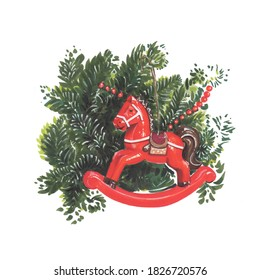 Christmas card painting with horse and fir tree branch.