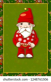 Christmas card with Santa Claus.