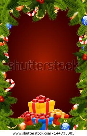 christmas card template firtree mistletoe decoration stock