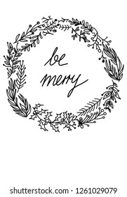 Christmas card type illustration for Merry Christmas wishes 'be merry'