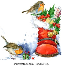Christmas card. watercolor bird illustration. winter holiday background.