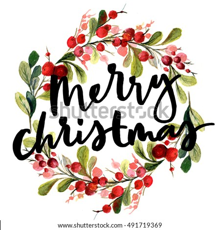Christmas Card Watercolor Painting Hand Lettering Stock Illustration ...