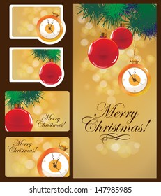 Christmas cards set: greeting card, two gift cards, two labels. Isolated on a dark background