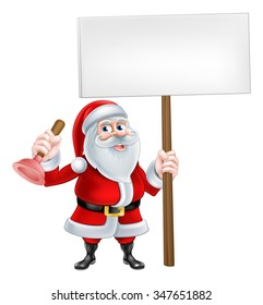 A Christmas cartoon illustration of Santa Claus holding a sign and a plunger