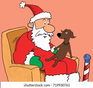 Christmas cartoon illustration showing a dog sitting on Santa Claus's lap.