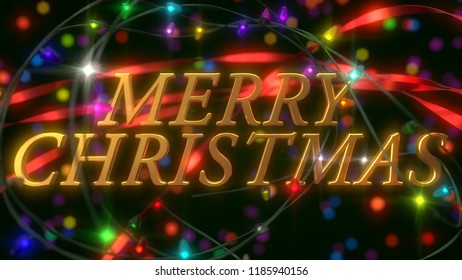 christmas celebration scene with golden text and baubles 3d illustration suitable for any new