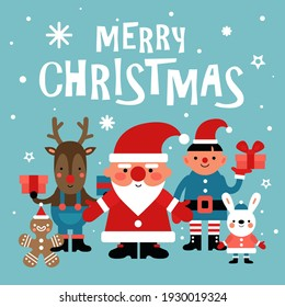 Christmas characters background. Santa, gingerbread Man and white rabbit and elf, deer with gift. 2020 new year party card