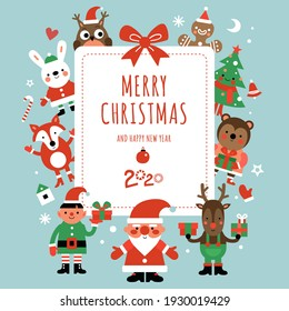 Christmas characters card. Santa, deer and fir-tree, rabbit and owl with gifts around festive banner. Xmas party invitation