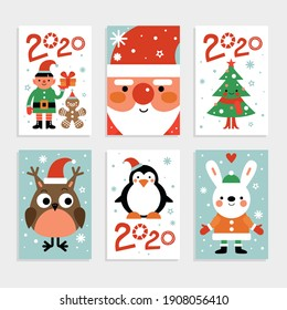 Christmas characters card set. Santa, penguin and fir-tree, white rabbit and owl, elf with gift. 2020 new year party invitation