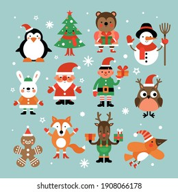 Christmas characters. Santa claus, fir-tree and penguin, snowman and elf, hare and owl, deer and gingerbread man cartoon set