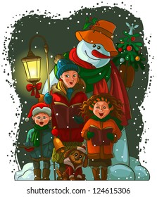 Christmas choir. Carol singers. Christian holiday raster illustration. Also available vector and coloring book version.
