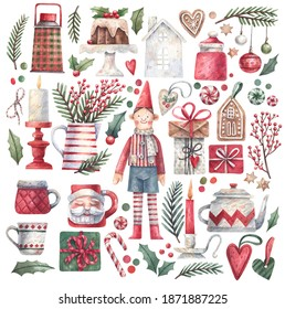 Christmas collection of hand drawn watercolor illustrations. Santa's elf, gifts, candles, spruce branches, gingerbread, house, holiday cupcake and other traditional symbols of Christmas and New Year.