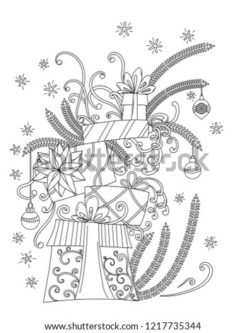 Christmas Coloring Pages Coloring Book Adults Stock Illustration ...