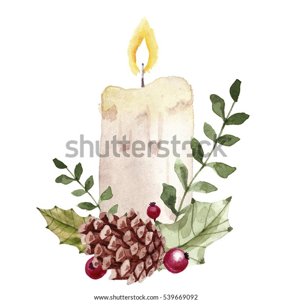 Christmas composition with candle.Watercolor hand drawn illustration.