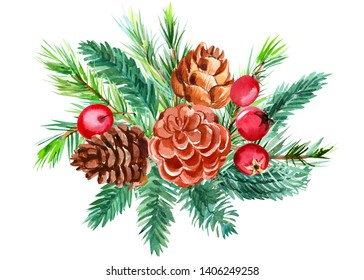 Christmas composition on white isolated background, bird red cardinal, fir and pine branch, pine cones, dried orange, cinnamon stick, hawthorn berries, watercolor illustration