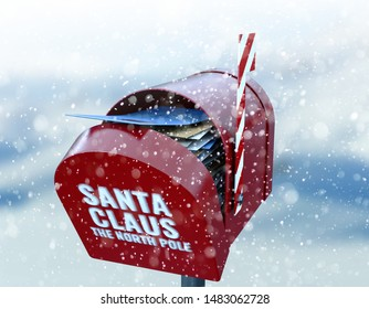 A christmas concept depicting a red retro mailbox belonging to santa clause crammed full of childrens wish list letters to him on a snowy cold background - 3D render