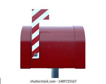 A christmas concept depicting a shut red retro mailbox belonging to santa clause with a striped candy cane flag on an isolated white background - 3D render