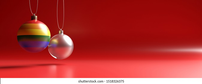 Christmas concept. Xmas and gay pride flag balls, glass texture against red color curved background, banner, copy space. 3d illustration