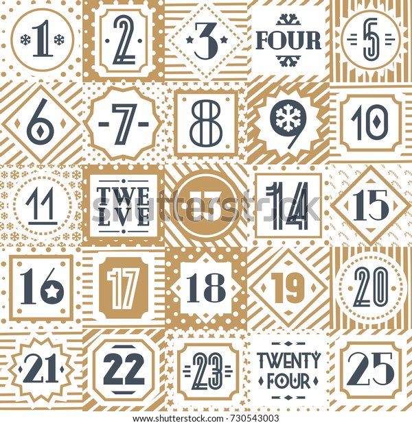 photograph relating to Printable Christmas Countdown named Xmas Countdown Printable Tags Range Gold Inventory