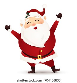 Christmas Cute, Cheerful ,funny Santa Claus waving hands isolated on white background. Santa clause. cartoon illustration.