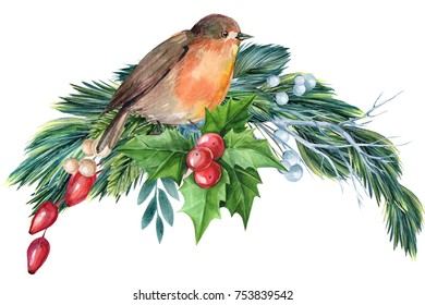 Christmas decoration with bird, watercolor illustration