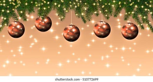 Christmas decoration panorama - 3 d illustration
