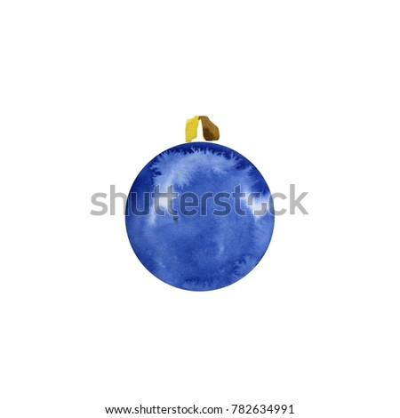 christmas decorations on christmas tree of watercolor stains blots watercolor dark blue christmas ball - Navy Blue Christmas Decorations