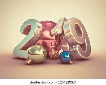 Christmas decorations with the text 2019. 3D illustration