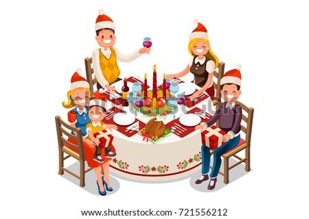 Christmas Dinner Party Illustration 3 D Flat Stock Illustration