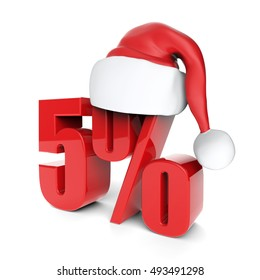 christmas discount sale collection with Santa's hat - 5%, 3D rendering