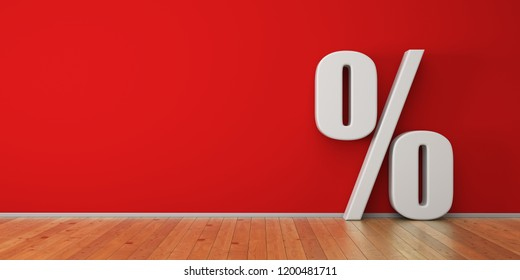 Christmas discounts. Percent on the red wall. 3d render illustration.
