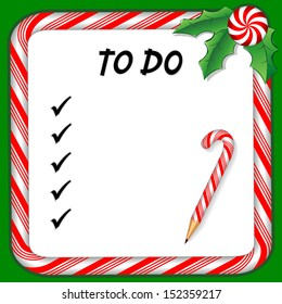 Christmas To Do List on whiteboard with candy cane frame in red and green, candy cane pencil, holly, peppermint candy trim. To organize holiday gifts and presents.