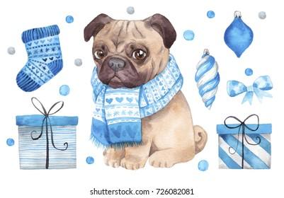 Christmas dog illustration. Hand drawn watercolor painting.