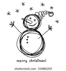 Christmas doodle funny snowman. Cute hand drawn childish invitation, greeting card. Holiday linear illustration for print, web