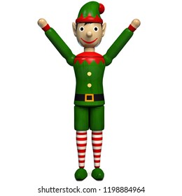 Christmas Elf Excited Isolated on White. 3D Illustration.